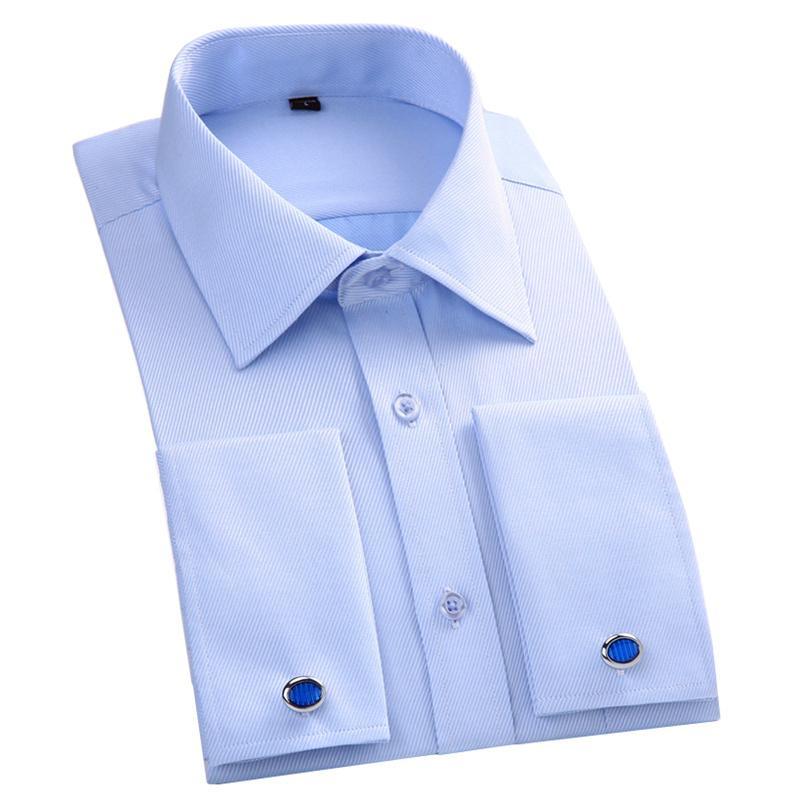 3ec335358dcc 2019 Dress French Cuff Shirt Men S Formal Wear Long Sleeve Shirt High  Quality Male Social Clothing White Blue 4XL 5XL 6XL D18102404 From Shen06