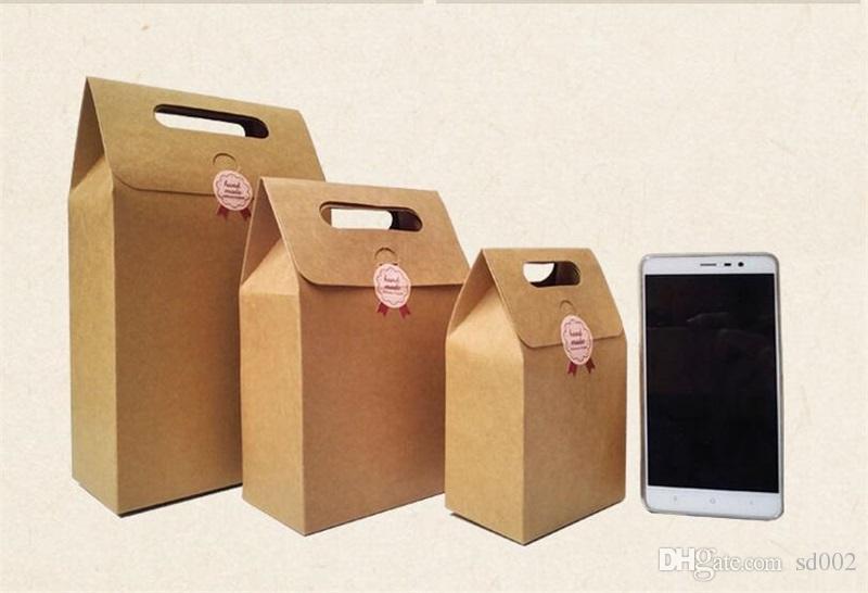 براون كرافت ورقة حقيبة طوي الشاي الغذاء أكياس التعبئة الحلوى هدية التفاف مربع حقيبة يد حصول على حفل زفاف لصالح اللوازم 1 2HQ YY