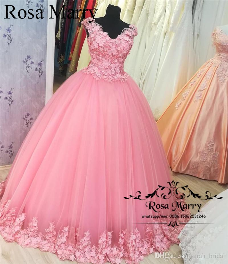Princess Pink Ball Gown Arabic Prom Dresses 2018 Vintage Lace 3d ...