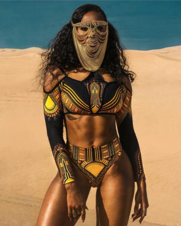 Brazilian Tribal Print High Waist Bikini Swimsuit 2018 Caged Bandage Swim Good quality Two Piece Swimwear Women Bathing Suit