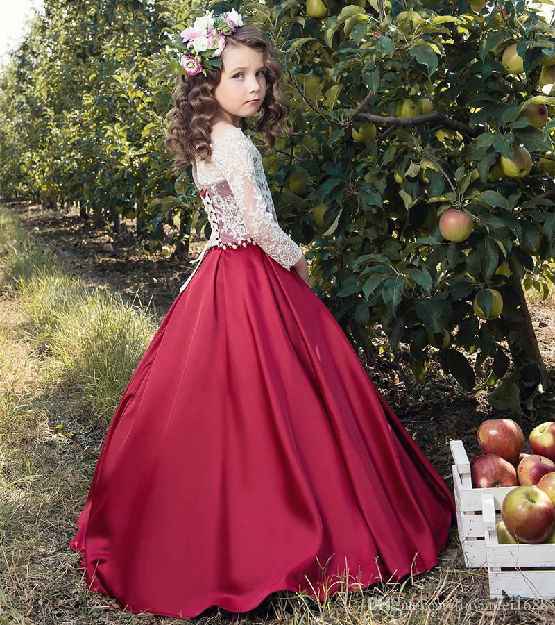 969d5f0cc0a Acheter Longueur De Plancher Dentelle Satin Fleur Filles Robes 3 4 ...