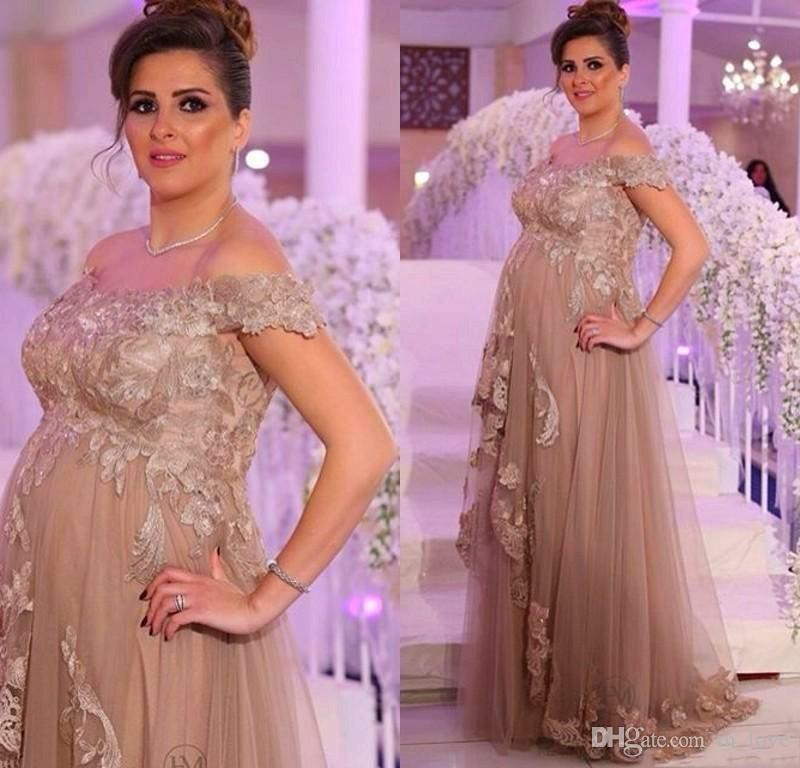 Plus Size Maternity Evening Dresses Pregnant Off Shoulder Lace Tulle Floor  Length Empire Waistline Formal Party Dress Custom Size