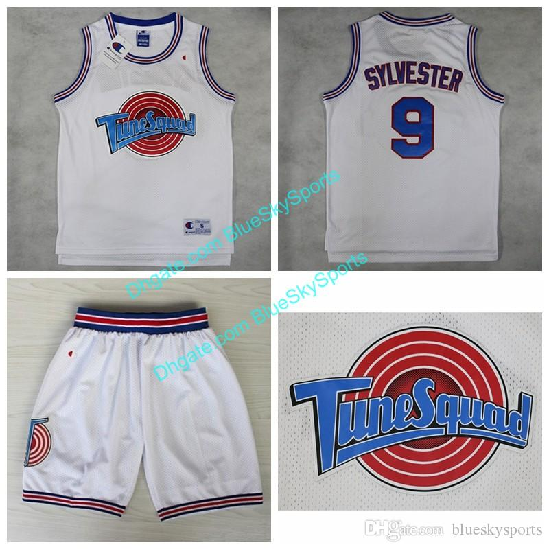 eca6a8b09c8e 2019 Space Jam Tune Squad  9 Sylvester White Basketball Jersey Mens Movie  Jerseys Fast Shipping Size S XXL From Blueskysports