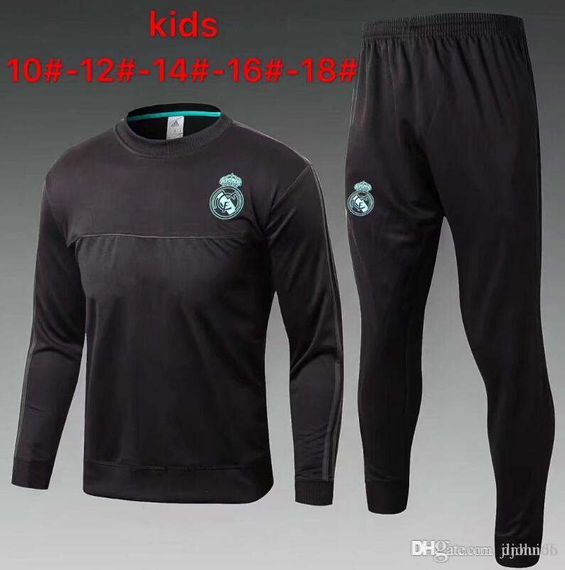 2017 2018 Real Madrid Tracksuits Top Quality Training Suit BENZEMA BALE  RONALDO Kids Football Tracksuits Real Mardrid Kids Jerseys Online with   30.0 Set on ... 29db81a62f76a