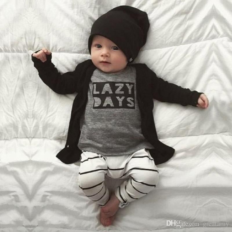 b82c0aae4 2018 Autumn Fashion Newborn Baby Boy Clothes Cotton Long sleeve Letter T  shirt+Pants 2 Pcs Outfits Infant Clothing Set