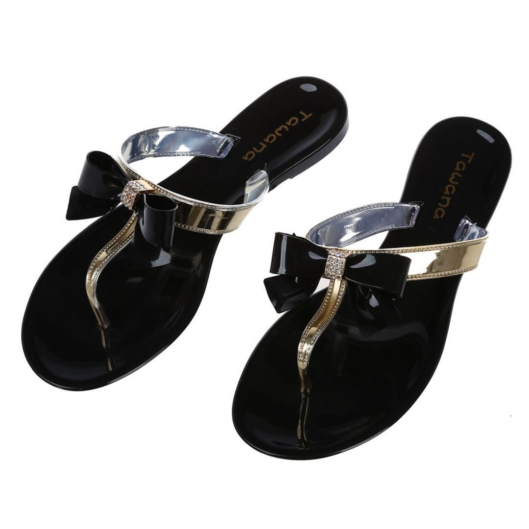 6a4f7ff121d2 Hot Fashion Womens Ladies Toe Bow Diamante Jelly Summer Flat Beach Flip Flop  Thong Sandals Black 5 Size Wide Calf Boots Shoes For Women From Vikiipedia