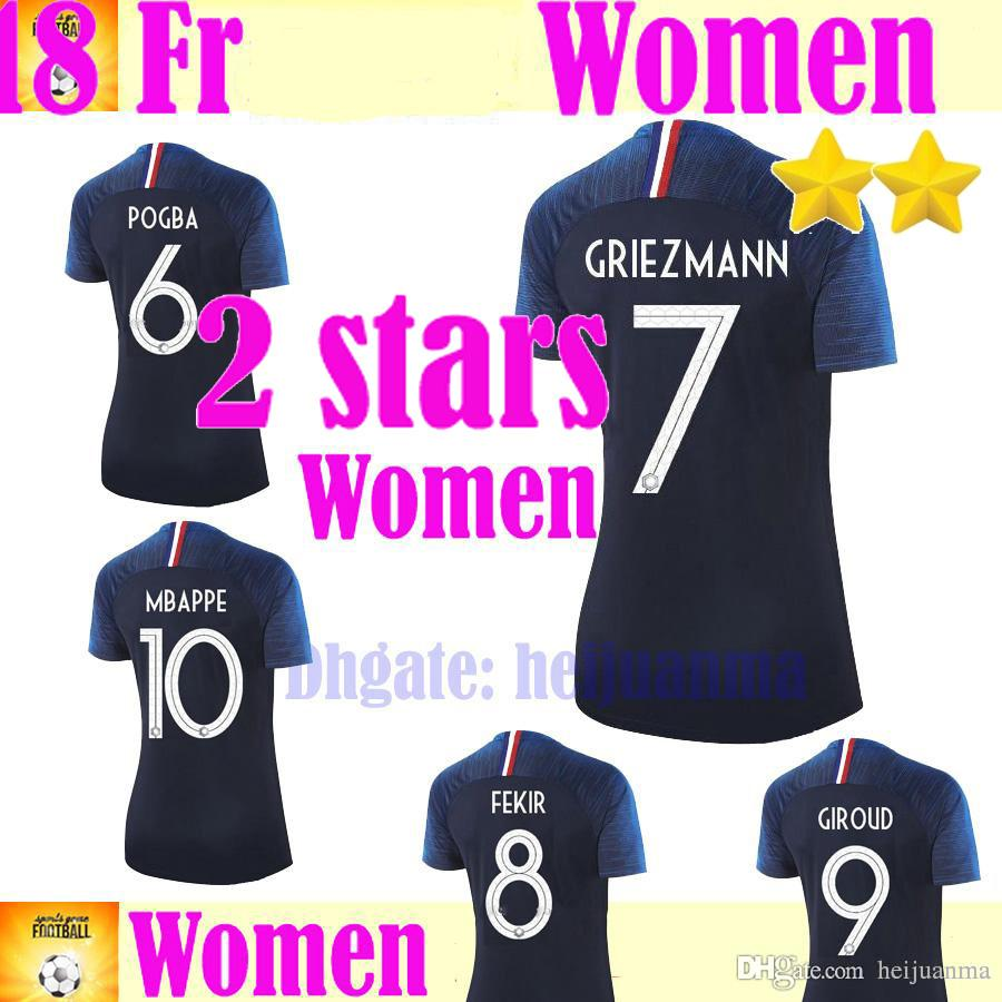 bd9d748b100 2018 Two Stars Champion Team Woman Mbappe GRIEZMANN POGBA Soccer Jersey  Blue White PAYET DEMBELE KANTE National Team Football Shirts COMAN 2018  Mbappe Two ...