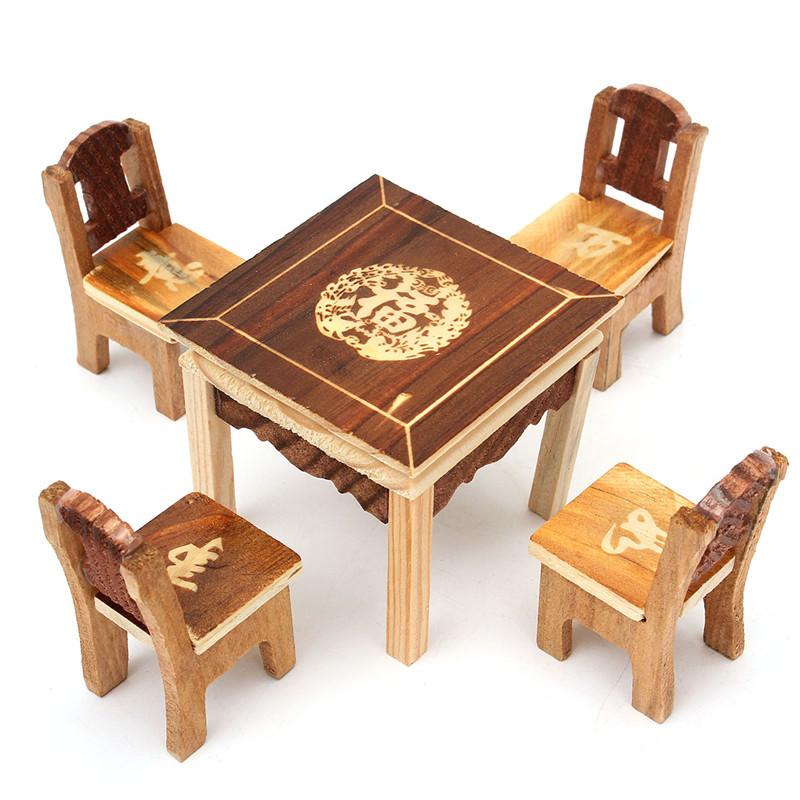Wondrous 5Pcs Set Vintage Wooden Table Chair Set For Dolls House Furniture Miniature Room Set Kids Mini Toys Gift Sets For Kids Children Alphanode Cool Chair Designs And Ideas Alphanodeonline
