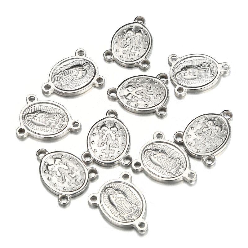 50 unids / lote rosario religioso de acero inoxidable pieza central Modonna rosario Virgen María encantos conectores para joyería DIY artesanía Accesorios