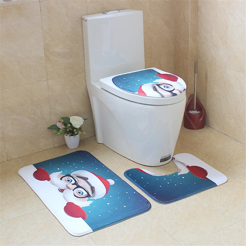 3PCS Valentine Pattern Non Slip Toilet Seat Cover Rug Bathroom Set Decor New RK