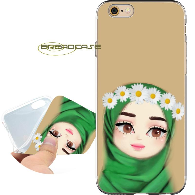 half off 94c1c a88cd Coque Cute Muslim Islamic Girl Cases for iPhone 10 X 7 8 6S 6 Plus 5S 5 SE  5C 4S 4 iPod Touch 6 5 Clear Soft TPU Silicone Cover.