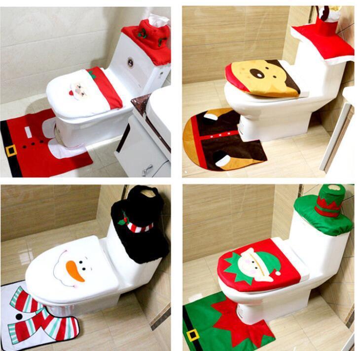 Set Bagno Babbo Natale.Acquista 3 Pz Set Bagno Natale Coprivaso Copridivano Decorazioni