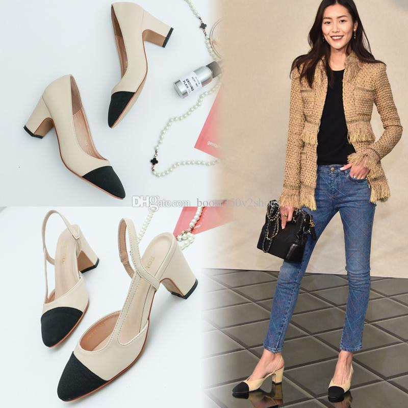 Designer Damen Sommer Pumps Schuhe 65mm High Heels Slingback Beige Grau Schwarz Two Tone Leder Damen Damen Luxus Sandalen Größe 34-41 Box