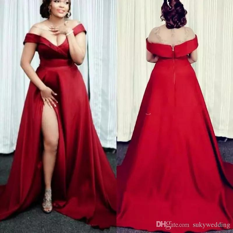 aecb75a5f2d Sexy Dark Red Prom Dresses Off The Shoulder Satin Split Side Plus Size  Formal Dresses Evening Wear Custom Made Pregnant Cocktail Party Gowns Short  Prom ...