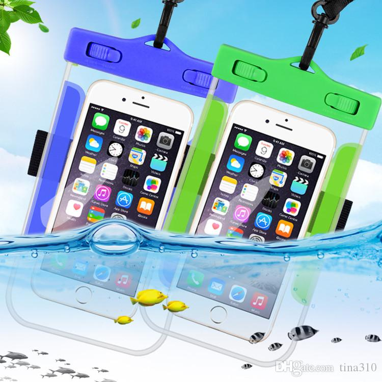 5.7'' Universal Waterproof Mobile Phone Bag Case Clear PVC Sealed Underwater Cell Smart Phone Dry Pouch Cell Phone Cases T1I297