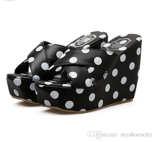 60d50d6d3c99 Black White Polka Dots Platform Wedges Shoes Sandals Cross Strappy High Heel  Slipper 2018 Size 35 To 40 Shoe Sale Shoes Uk From Myshoescity
