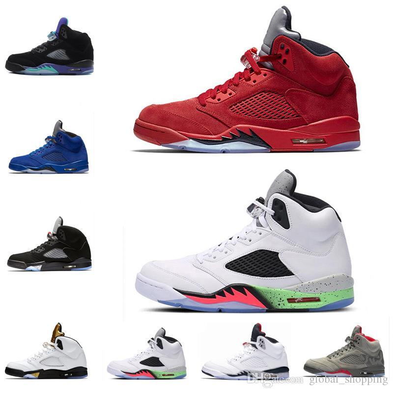 Cheap 2018 5s Men Basketball Shoes OG Black Metallic Red Blue Suede ... d633d0ef0296