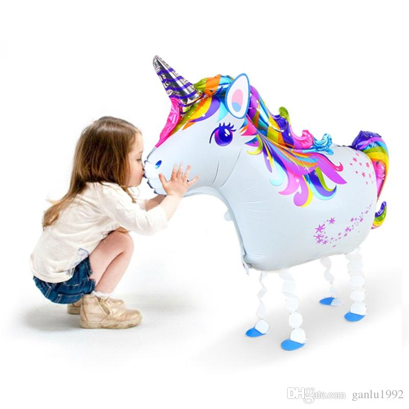 Creative Walking Unicorn Balloons Lovely Cartoon Animal Horse Rainbow Balloon Kid Birthday Decorate Party Supplies New 2 6sl C