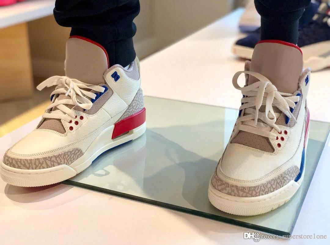 7fc7521d1e21 2019 3 USA Charity Game White Cement Blue Red International Flight 3s III  Men Basketball Shoes 136064 140 Newest Authentic Sneakers Shoes Box From ...