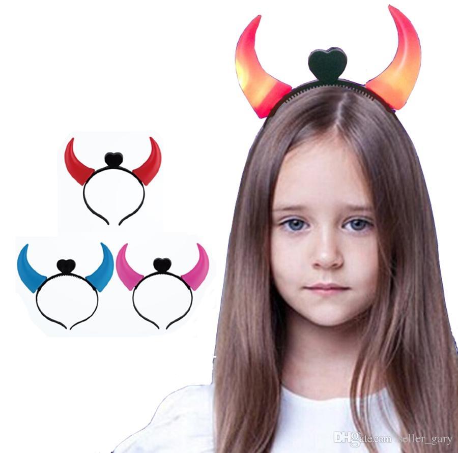led halloween headband ear head hair bands unisex boys girls adult