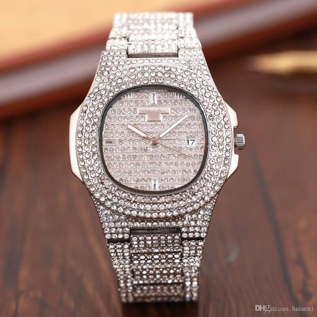 623af686124 Compre 2019 Luxo Relogio Masculino Todos Os Homens De Diamantes Relógio  Vestido De Ouro Relógio De Pulso Mostradores Azuis Relógios Mecânicos  Preços Caixa ...