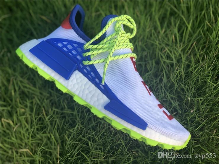Pharrell Williams Originals PW HU NMD NERD CREME White Blue Red Men Women Running Shoes Authentic Sneakers Sports With Box EE6283 Size 36 45