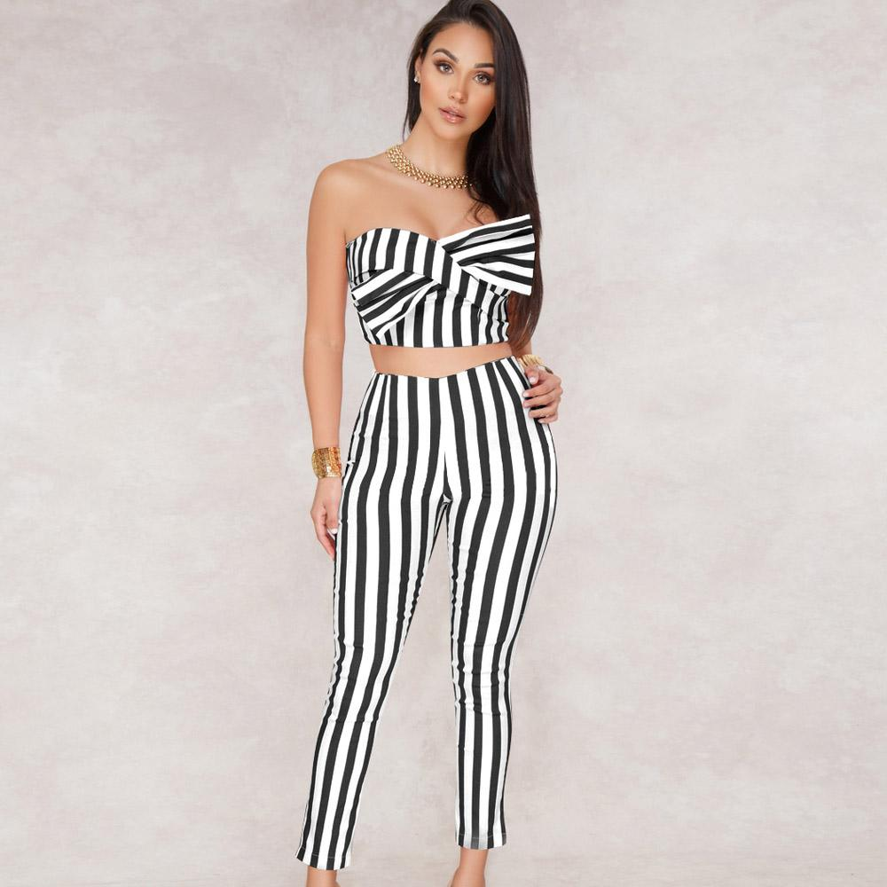 643520d2432 2019 2018 Women Outfit Sleeveless Striped Bow Crop Top Long Pant Black  White Sexy Jumpsuit Romper Club Party Bandage Overalls From Lucycloth