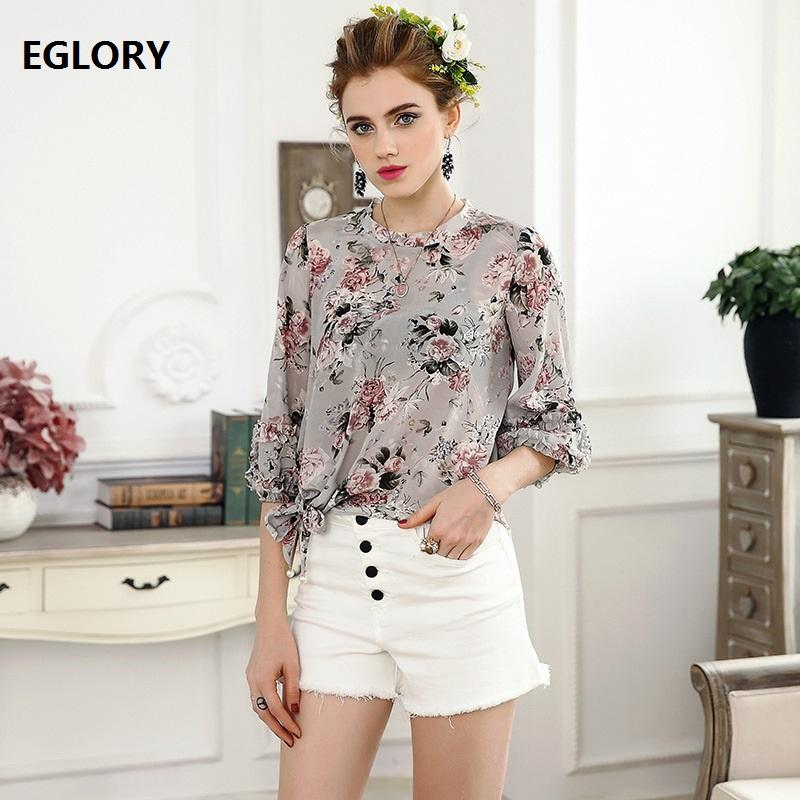 57fbeb4a3f5de5 2019 100%Silk Tops New Hot Sale Blouses Casual Women Grey Flower Print  Vintage Puff Sleeve Knot Bow Waist Loose Shirts Ladies Blouse From  Odeletta