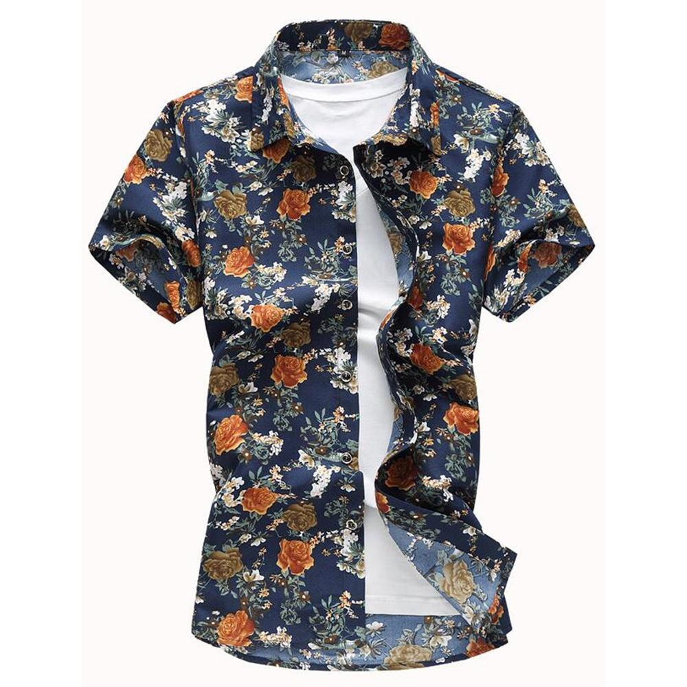 2019 Big Size Flower Print Shirt Vintage Male Shirts