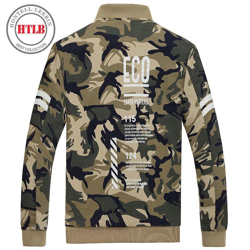 HTLB 2017 Brand New Men's Bomber Casual Jacket Male Coat Lette Print Hip Pop Camouflage Military Jacket Pilot Bomber Jackets Men