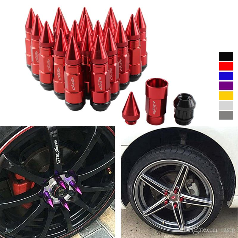 RASTP -Multi Function Anti Theft Racing Car Tires Spike Lug Nuts,JDM Sytle Anodized Universal Wheel Lug Nuts M12*1.5mm RS-LN043