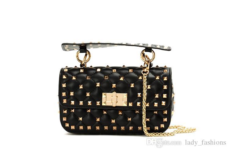 6389354c2139 Designer Inspired Handbag Rockstu Spike Quilted Leather Shoulder Bags  Luxury Brand Women Handbag Purse Black Leather Handbags Small Purses From  ...