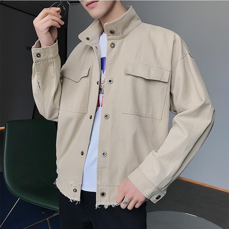 Acquista 2018 Nuovi Uomini Coreani Di Stile Cappotti Vestiti Di Moda  Sciolto Casual Streetwear Giubbotto Bomber Nero   Kaki   Rosso Giacca A  Vento M 2XL A ... d7dad14ef343