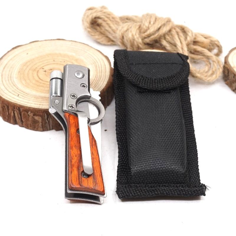 Small Size Folding AK47 Gun Knife Pocket Tactical Camping Knife 440 Blade Wood Handle Outdoor Multitool Survival Knives With LED light