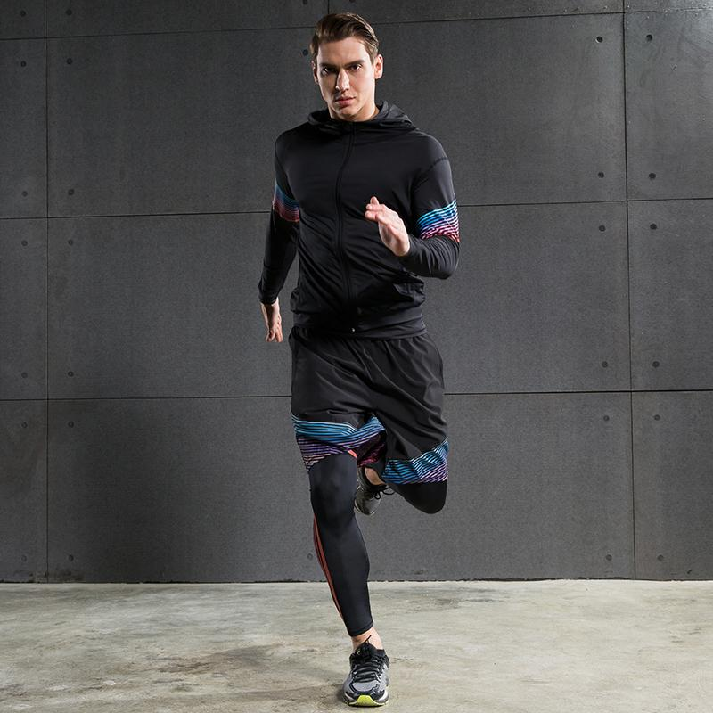 e592a05202e 2019 Men S Compression Running Suits Three Clothes Sports Set Jackets Shorts  And Pants Joggers Gym Fitness Compression Tights Sets From Monida