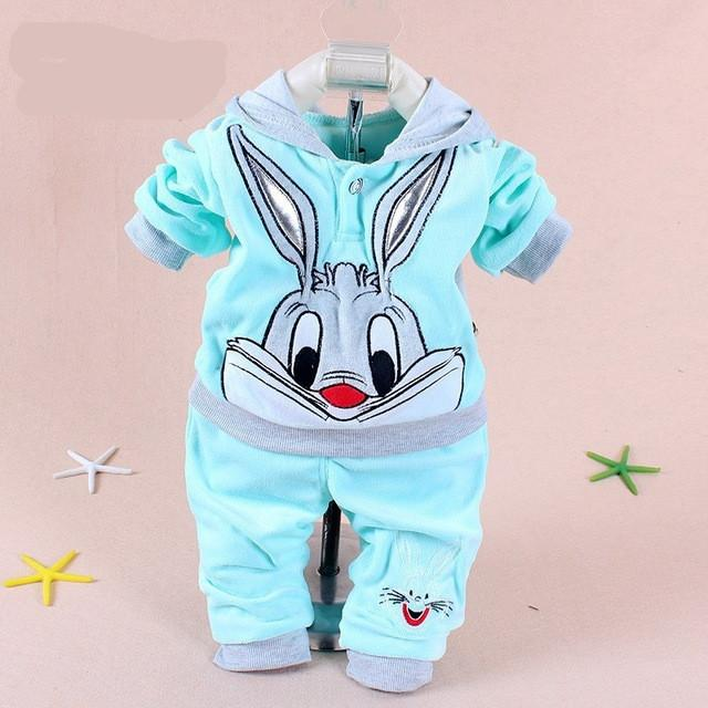 Hot Baby Clothing Set 2015 Spring/Autumn Baby's Set Cartoon Rabbit Boys Girls Clothes Twinse Suits Hoodie Pant Children Clothing