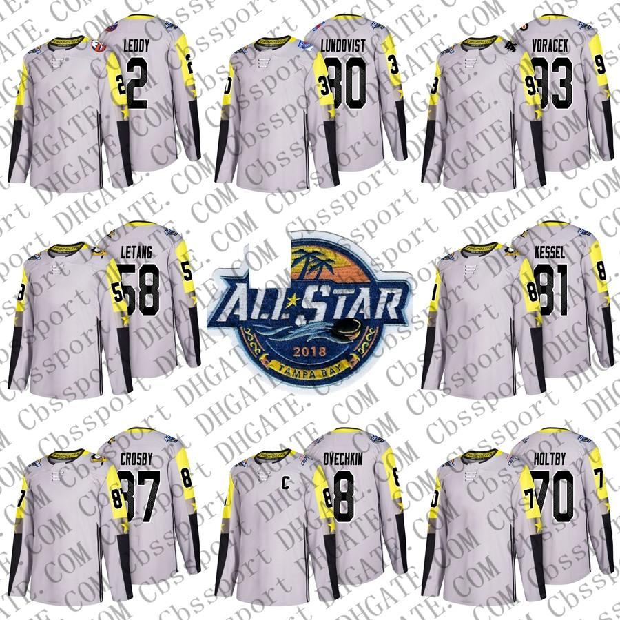 Mens Metro Division 2 Leddy 80 Lundqvist 22 Shattenkirk 28 Giroux 58 Letang 81 Kessel 8 Ovechkin Gray 2018 All-Star Game Ice Hockey Jerseys