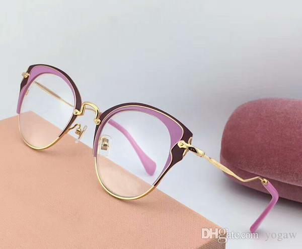 3429920385 Women 52P Pink Gold Eyeglasses Eyewear 50mm Sonnenbrille Designer Brand Sunglasses  Eyewear New With Box Heart Sunglasses Circle Sunglasses From Yogaw