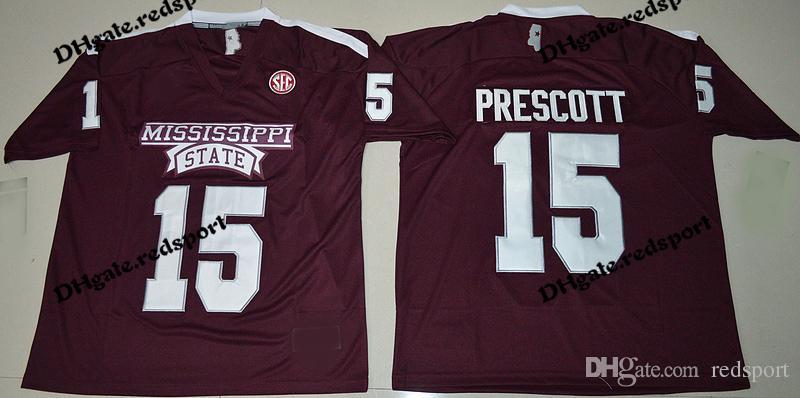 hot sale online b4667 e3216 Mens Mississippi State Bulldogs Dak Prescott College Football Jerseys Cheap  #15 Dak Prescott University Football Shirts Red