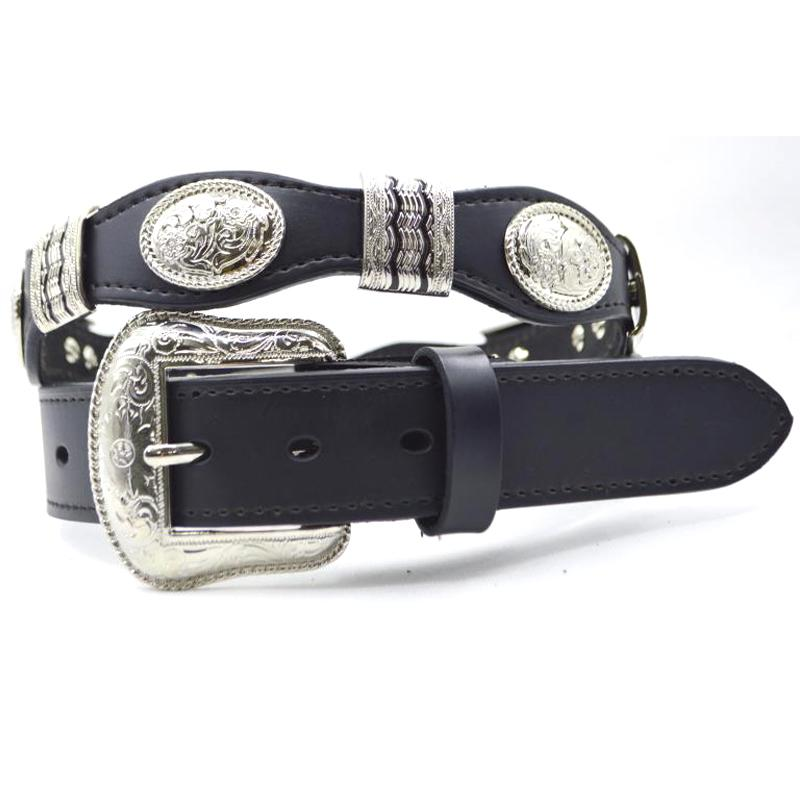 Compre Cinturón De Cuero De Vaca Para Hombre Cinturón Vaquero De Cuero  Negro Para Hombre Correa De Vaca Genuino Leahter Concho Para Mujer Cinto De  Strass A ... a5416ee3ef7e