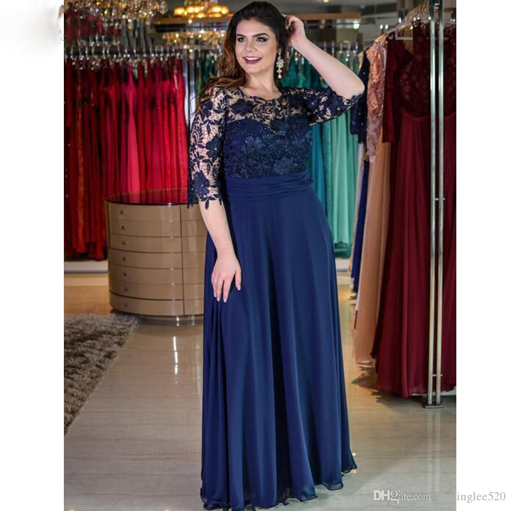 f7763799bd4d Plus Size Prom Evening Dresses Crew Neck Illusion 3/4 Long Sleeve Chiffon  Lace Floor Length Zipper Ruched Party Pageant Dress Evening Gown Evening  Dresses ...