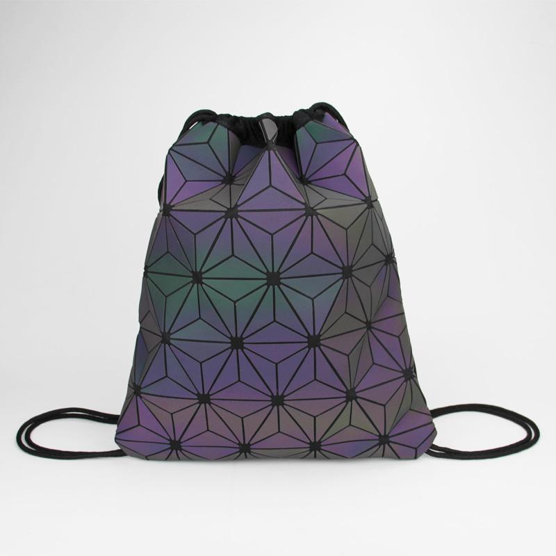 1936aadd26 New Women Drawstring Backpacks Holographic Bagpack Female Luminous  Geometric Backpack For Teenage Girls School Bag Beach Bao Bag Backpacking  Backpacks ...