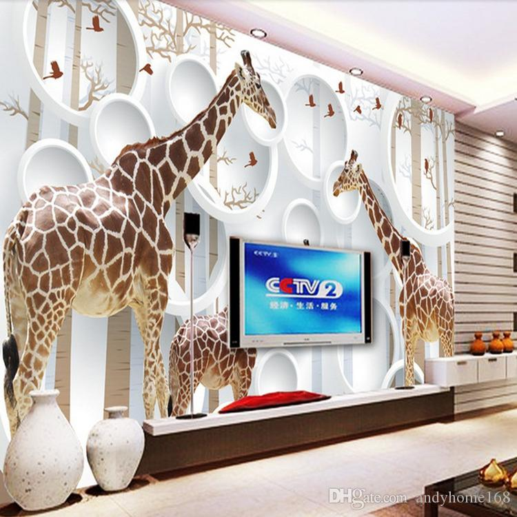 Unique 3D Voir Girafe Photo Papier Peint Mignon Animal Mur Mural Art Décoration Murale Papier Chambre des enfants Pépinière Salon Bureau Livraison Gratuite