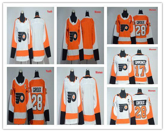 2018 2018 Womens Youth Philadelphia Flyers Jerseys 28 Claude Giroux 17  Wayne Simmonds Ladies Kids Ice Hockey Jerseys Cheap Orange White From  Gemma yong 89e340df9