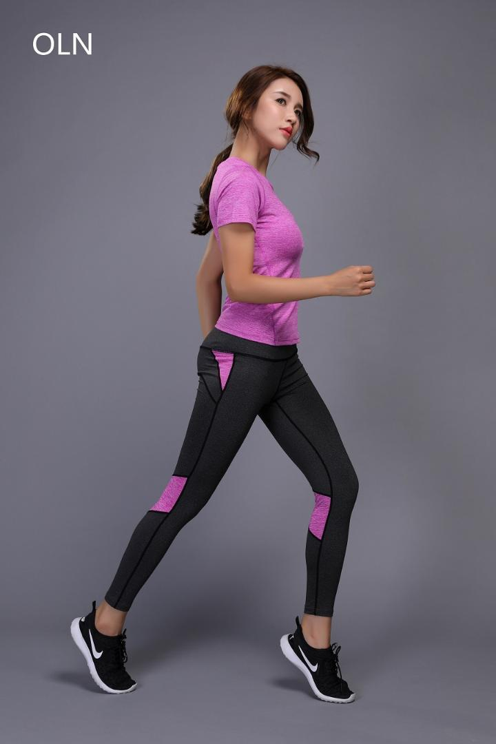 gran descuento 43065 5658f OLN women yoga clothing Fitness purple 2 Pieces Set shirts Pants women  sports Running suit