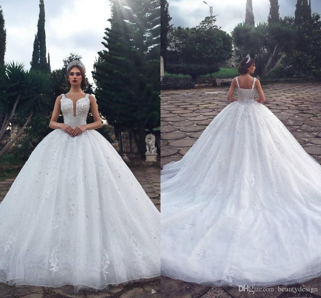 2018 Robes Mariee Acheter De En Luxe Arabe Bretelles