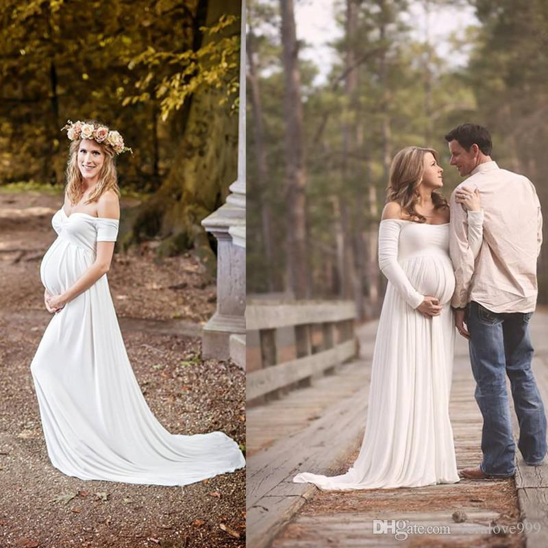 Discount 2018 Maternity Wedding Gowns Empire White Soft Chiffon Off The  Shoulder Simple Bridal Dresses Plus Size Dress For Pregnant Woman Fitted  Lace ... eada25f29e79