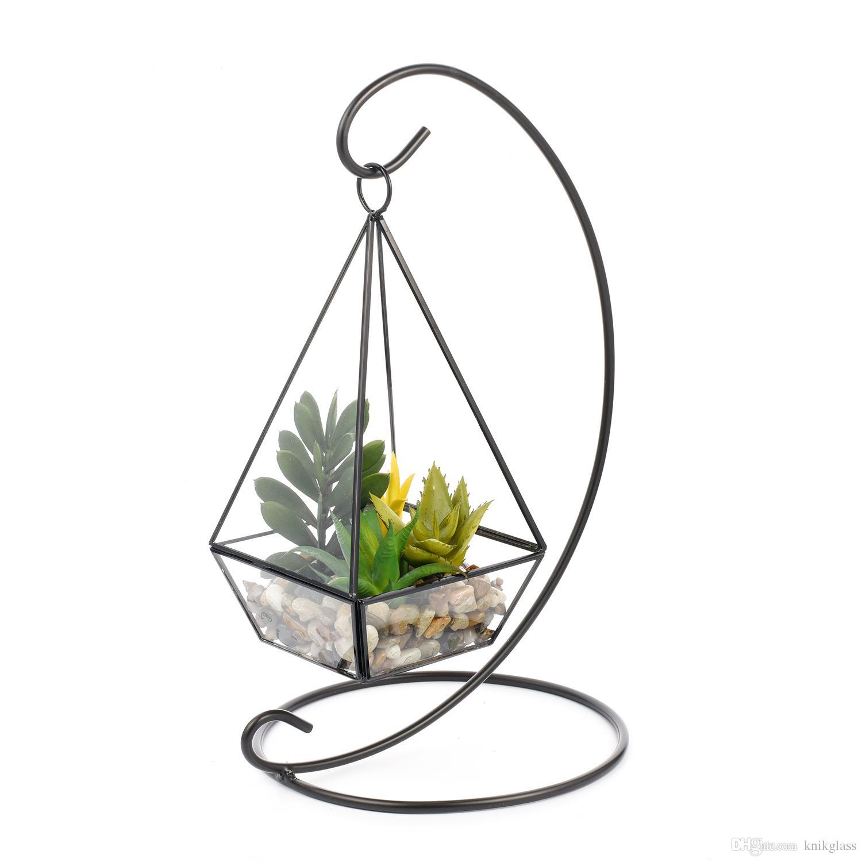 Succulents Ornament Unique Gift 7 X 10 Geometric Glass Hanging