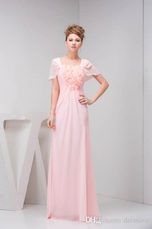 Simple 2018 Pink Flowers Bridesmaid Dresses Prom Gowns Short Sleeevs ...