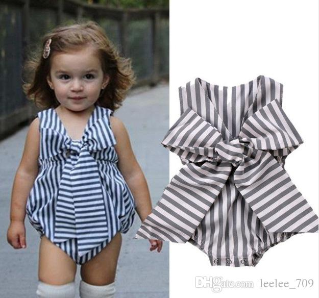 4cde9faace0 2019 Ins Baby Girl Clothes Kids Stripe Rompers 2018 Spring Summer Jumpsuit  Newborn Sleeveless Floral Lace Big Bow Romper From Leelee 709